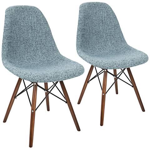 Brady Duo Smokey Blue and Gray Fabric Dining Chair Set of 2