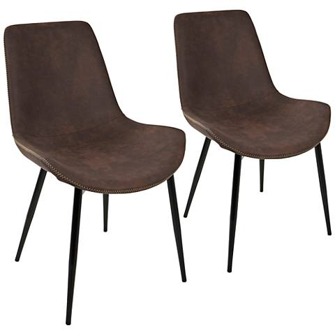 Duke Espresso Faux Leather Dining Chair Set of 2
