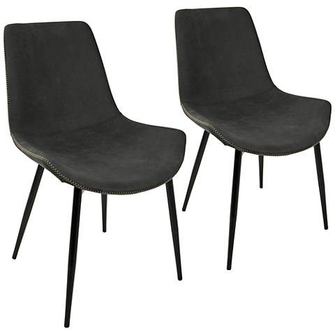 Duke Gray Faux Leather Dining Chair Set of 2