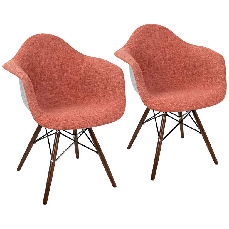 Neo Flair Duo Red and Gray Fabric Dining Chair Set of 2
