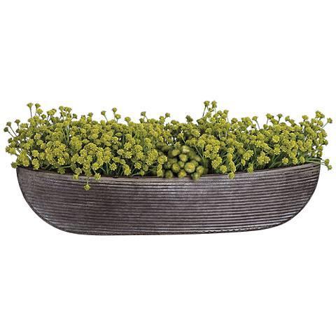 """Green Baby's Breath 22"""" Wide Faux Flowers in Pot"""