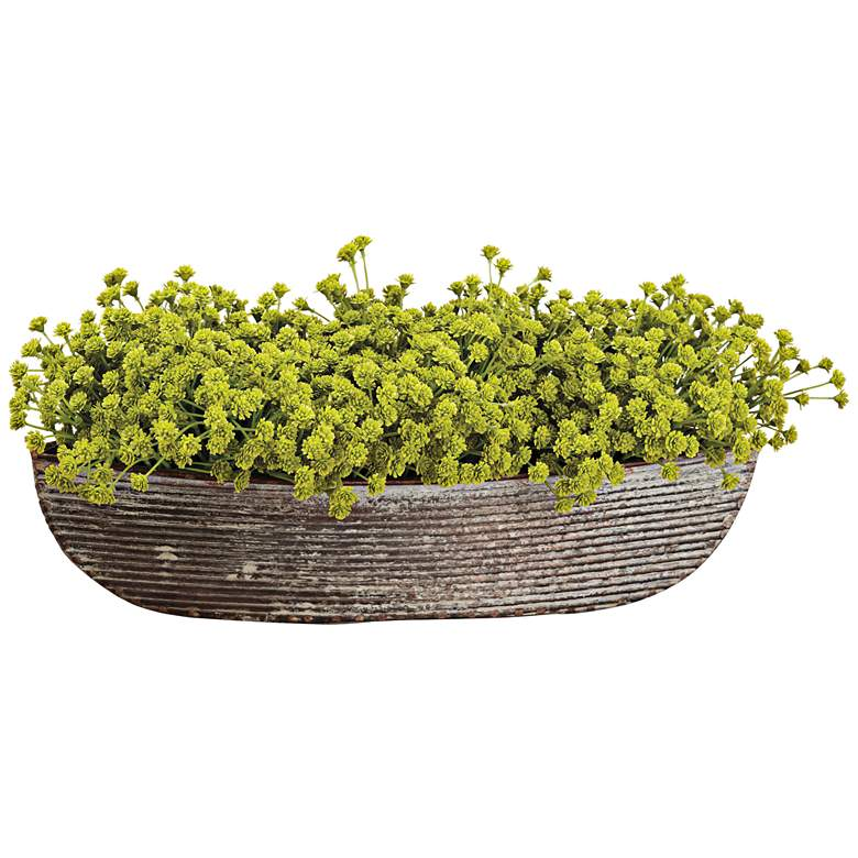 "Green Baby's Breath 14"" Wide Faux Flowers in Pot"