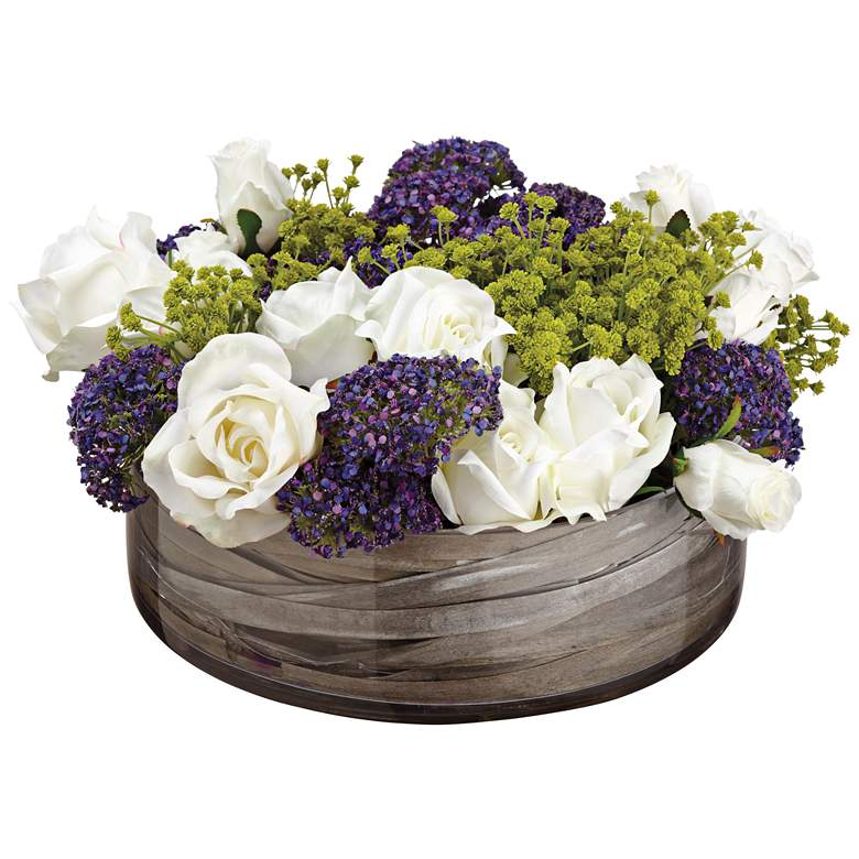 "Rose and Queen Anne's Lace 8"" High Faux Flowers in Pot"