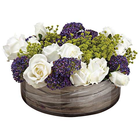 """Rose and Queen Anne's Lace 8"""" High Faux Flowers in Pot"""