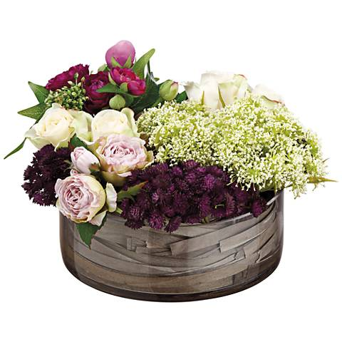 "Rose, Sedum and Queen Anne's Lace 9""H Faux Flowers in Vase"