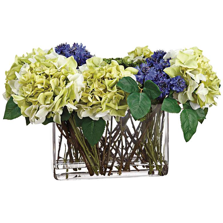 "Hydrangeas, Cornflower and Sedum 21"" Wide Faux Flowers Vase"