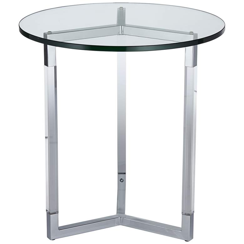 "Linda 22"" Wide Clear Acrylic Round Modern Accent Table"