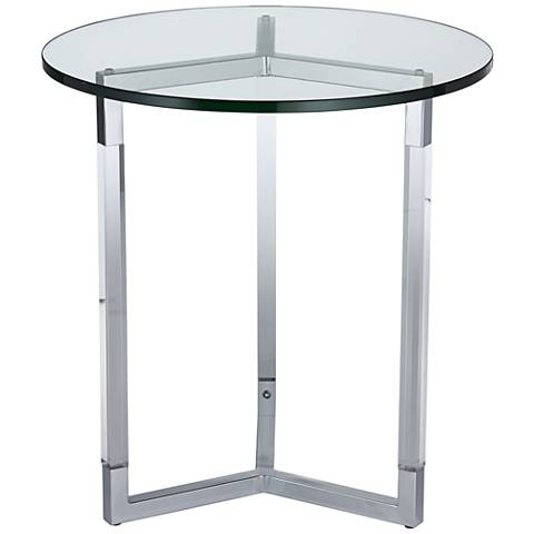 Chrome Plated Acrylic and Tempered Glass Round Accent Table