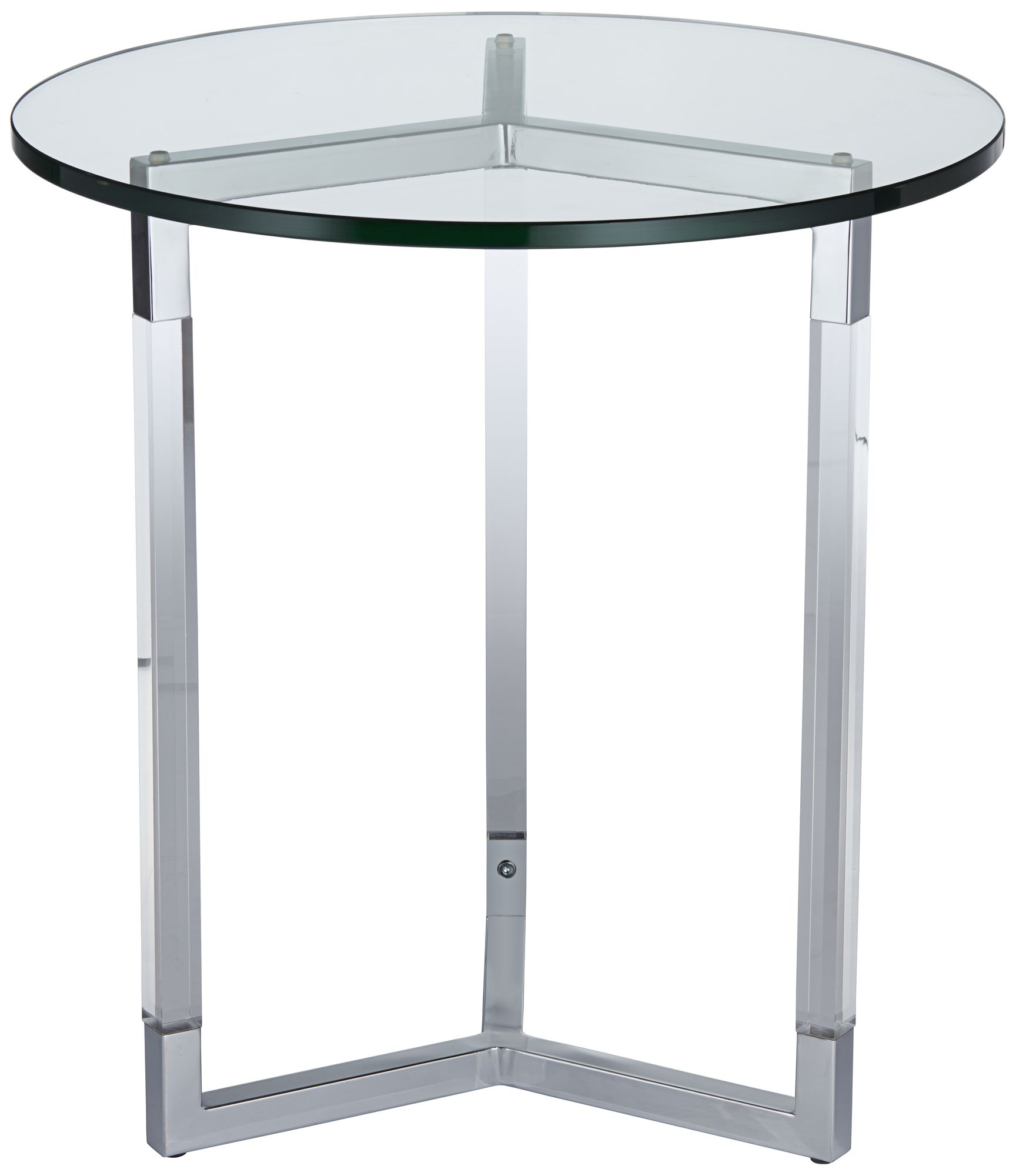 Linda Acrylic And Tempered Glass Round Accent Table