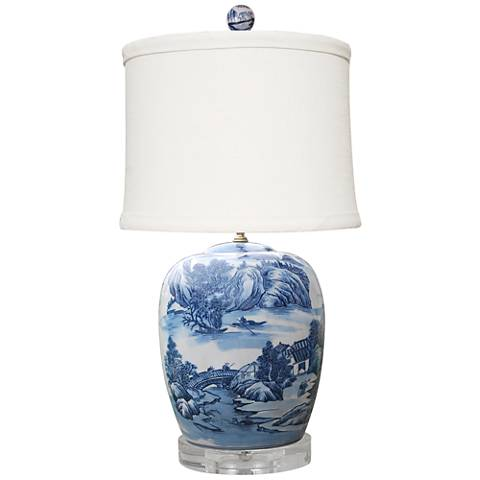 Montoya Blue and White Porcelain Table Lamp
