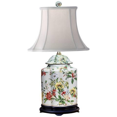 Devin Multi-Color Porcelain Scallops Jar Accent Table Lamp