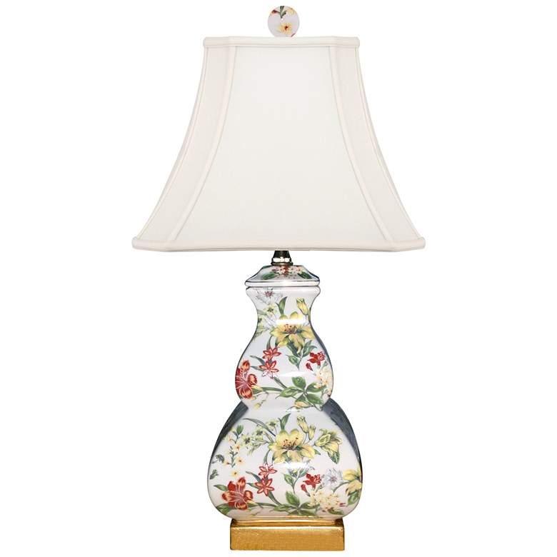 Devin Multi-Color Porcelain Square Gourd Accent Table Lamp