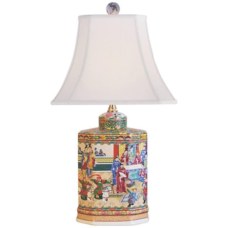 Rose Medallion Multi-Color Porcelain Accent Table Lamp
