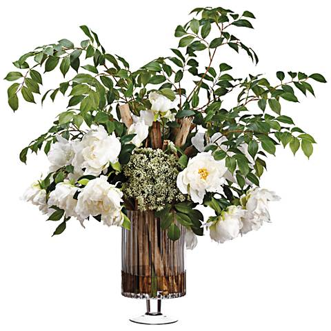 "Peony, Pavona Cactus and Ash 29""Hi Faux Flowers in Vase"