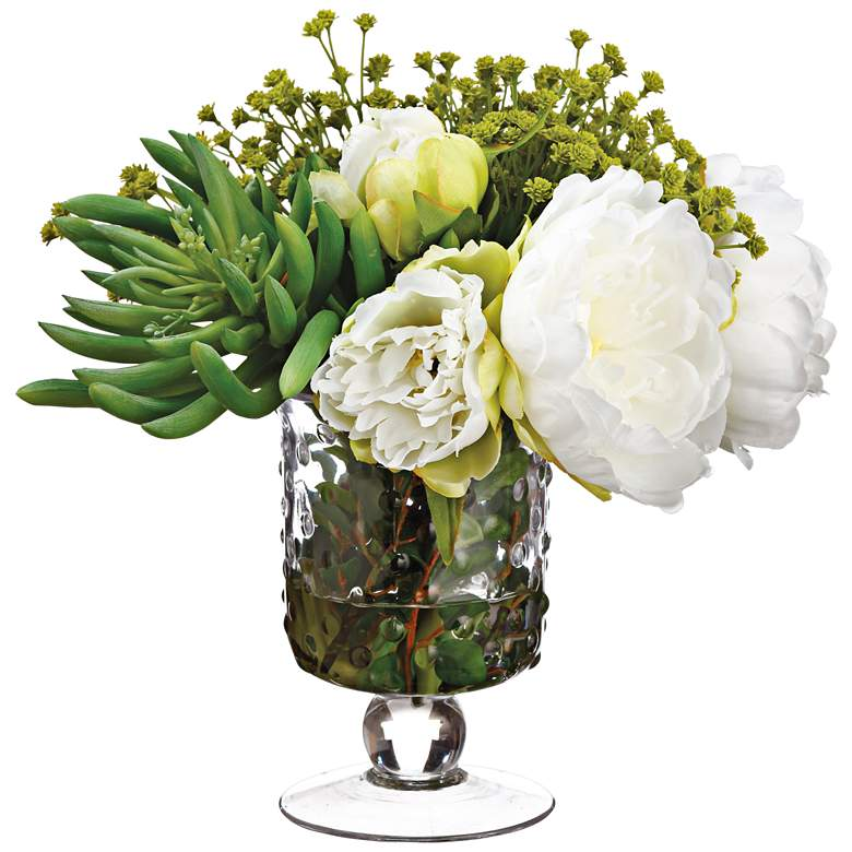 """Peony, Aeonium and Baby's Breath 10"""" Faux Flowers in Vase"""