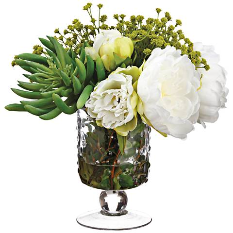 "Peony, Aeonium and Baby's Breath 10""H Faux Flowers in Vase"