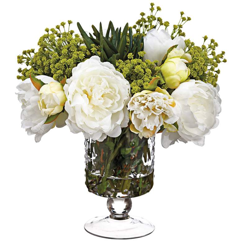 "Peony, Succulent and Baby's Breath 12""H Faux Flowers in Vase"