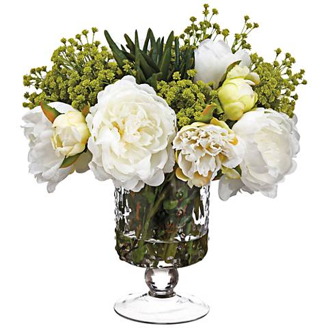 Peony Succulent And Babys Breath 12h Faux Flowers In Vase