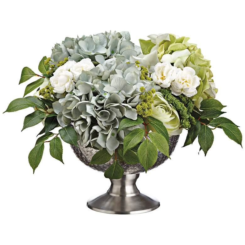 "Hydrangeas, Ranunculus, Sedum 17"" Wide Faux Flowers in Pot"