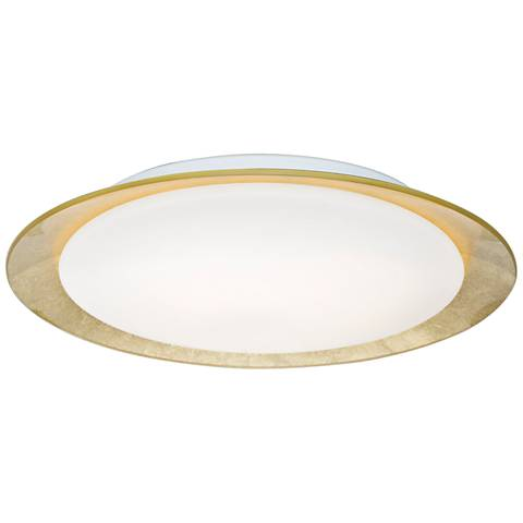 "Besa Tuca 15 1/2""W Gold Foil Opal Matte LED Ceiling Light"