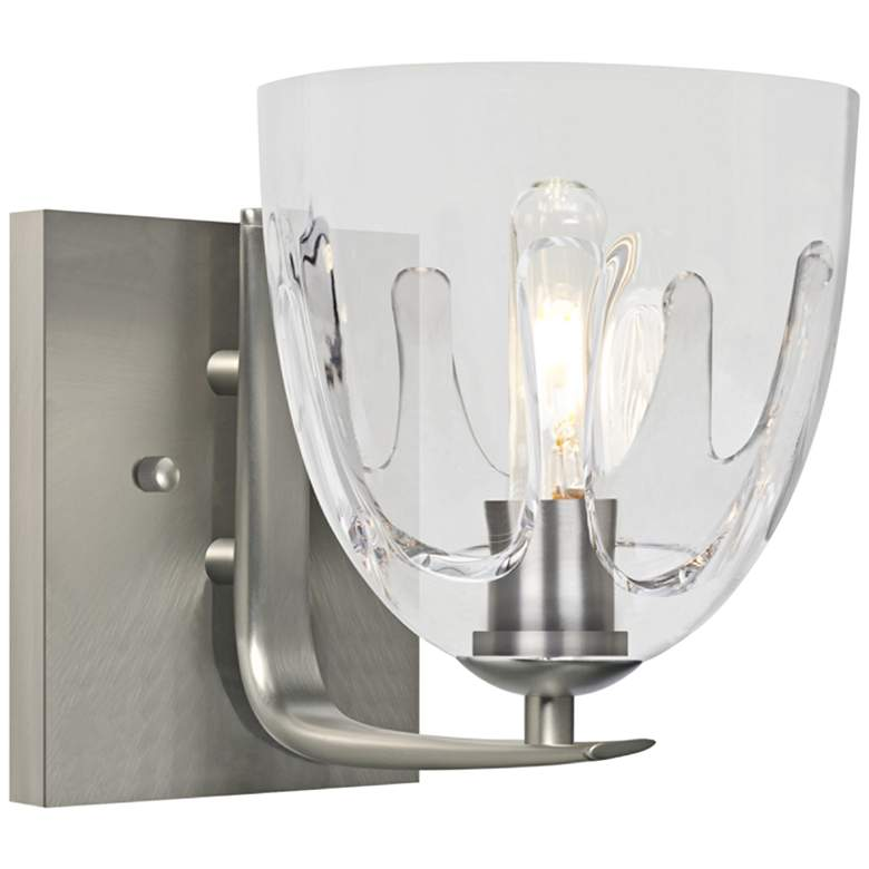 """Besa Phantom 9""""H Satin Nickel and Clear Glass Wall Sconce"""