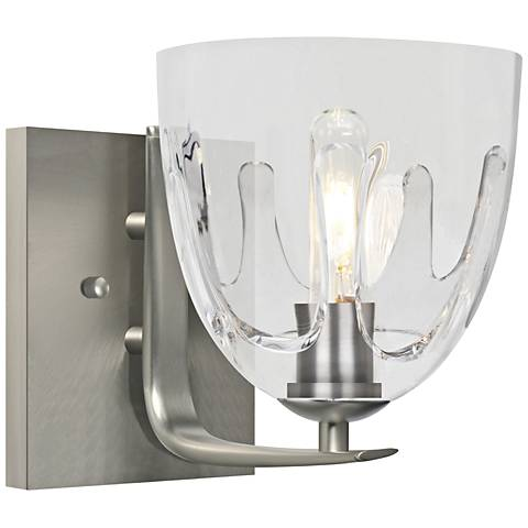 "Besa Phantom 9""H Satin Nickel and Clear Glass Wall Sconce"