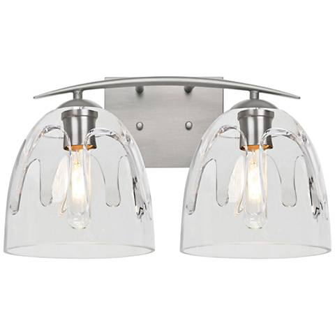 "Besa Phantom 9""H Satin Nickel and Clear 2-Light Wall Sconce"