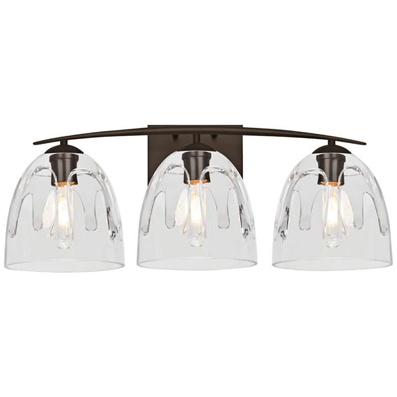 "Besa Phantom 25""W Bronze and Clear Glass 3-Light Bath Light"