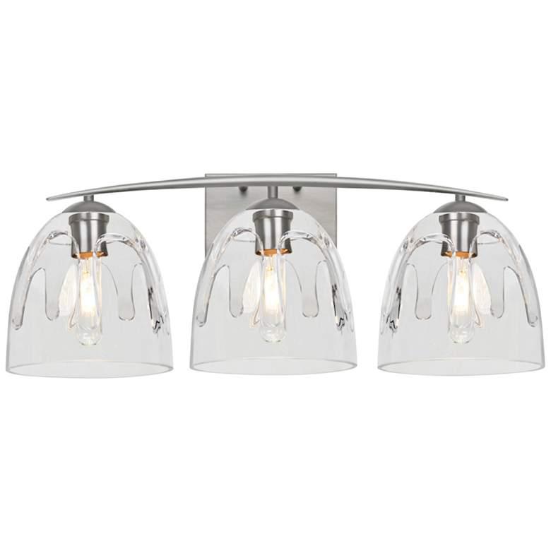 "Besa Phantom 25""W Satin Nickel and Clear 3-Light Bath Light"
