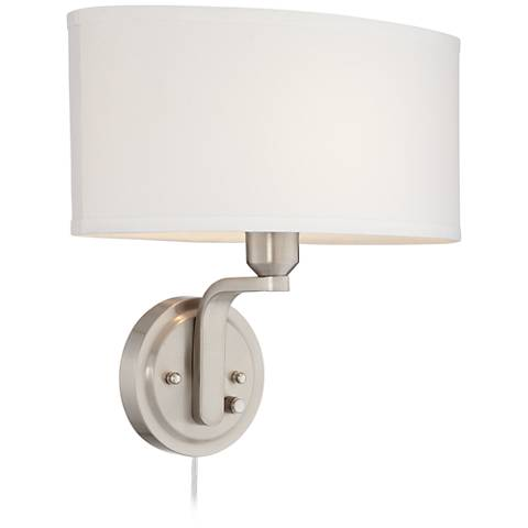 Possini Euro Design Brushed Nickel Dimmable Pin-Up Wall Lamp