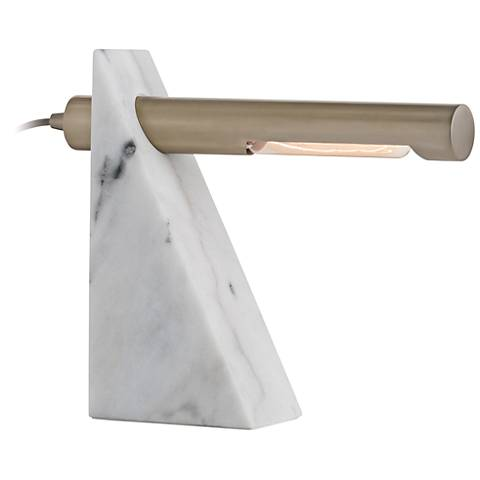 Arteriors Home Hargis Pale Brass and White Marble Desk Lamp