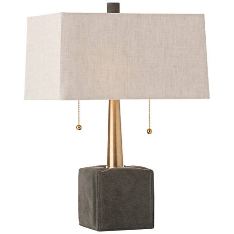 """Gus 19""""H Moss Gray Suede and Brushed Brass Accent Table Lamp"""