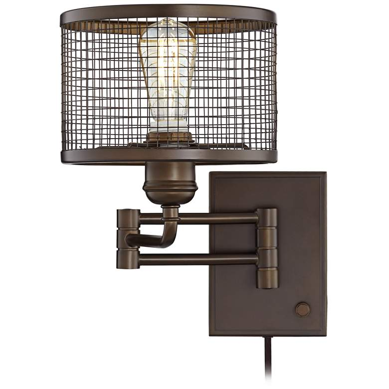 Chad Industrial Cage Plug-In Swing Arm LED Wall Lamp