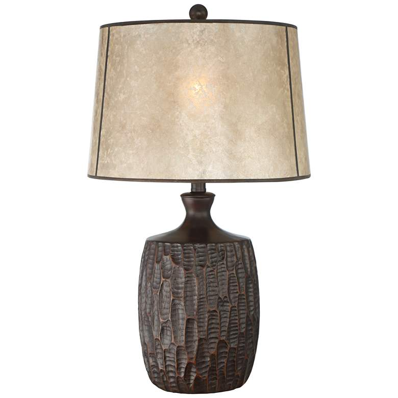 Kelly Rustic Farmhouse Table Lamp with Mica Shade
