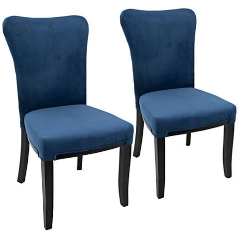 Olivia Navy Blue Velvet Dining Chair Set of 2