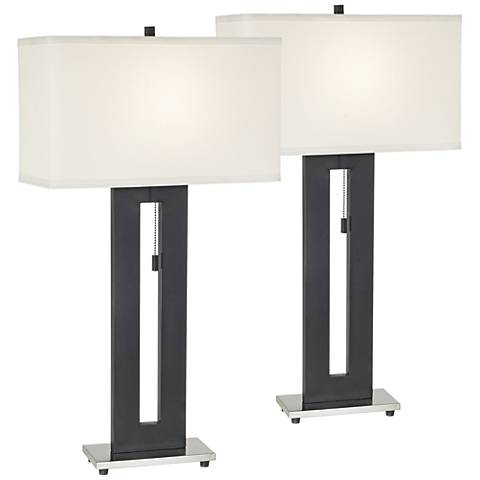 Right Angle Black Table Lamp Set of 2
