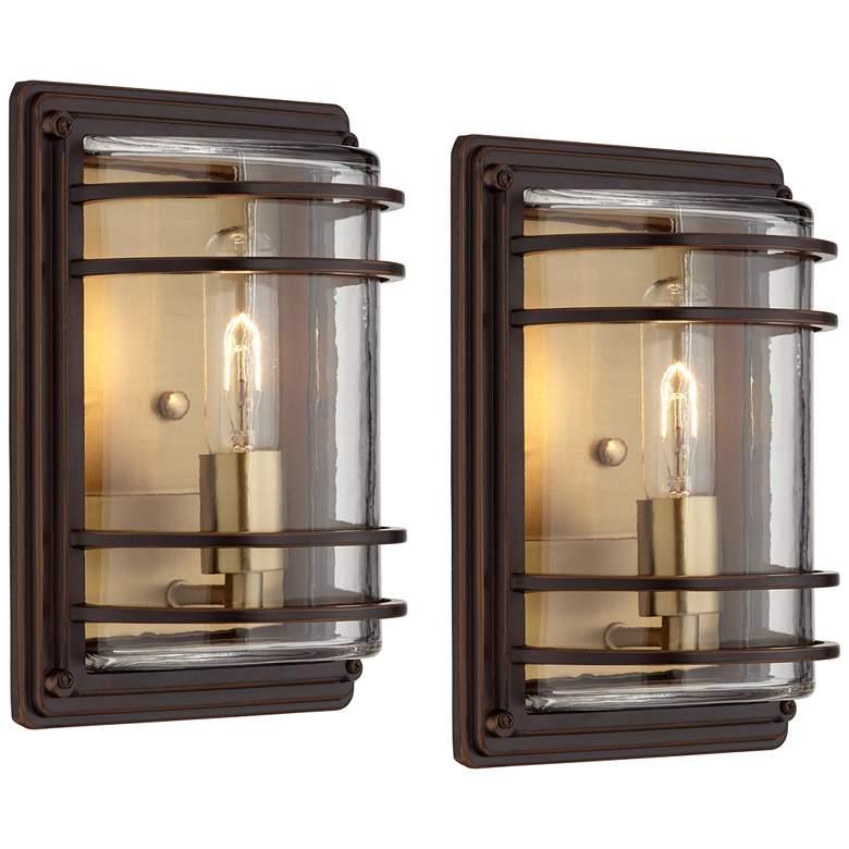 """Habitat 11"""" High Bronze and Warm Brass Outdoor Wall Light Set of 2"""