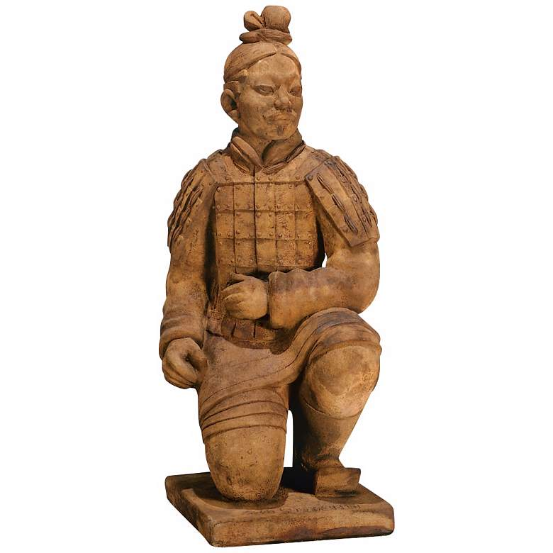 "Kneeling Chinese Archer 31"" High Garden Art Statue"
