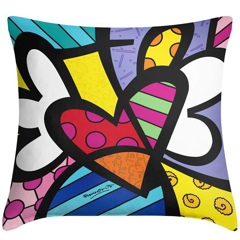 "Romero Britto Heart 18"" Square Throw Pillow"