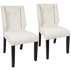 Rosario Cream Fabric Button-Tufted Dining Chair Set of 2