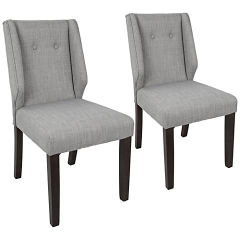 Rosario Gray Fabric Button Tufted Dining Chair Set Of 2 33a04