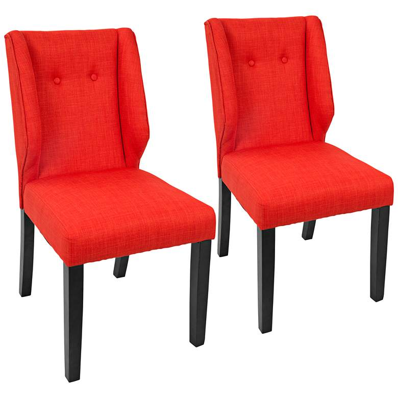 Rosario Orange Fabric Button-Tufted Dining Chair Set of