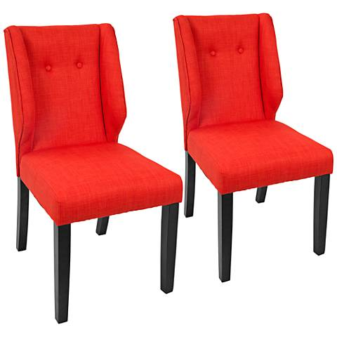 Rosario Orange Fabric Button-Tufted Dining Chair Set of 2