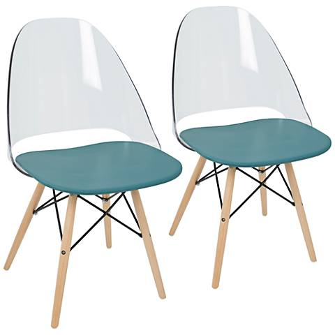 Tonic Natural and Teal Blue Dining Chair Set of 2