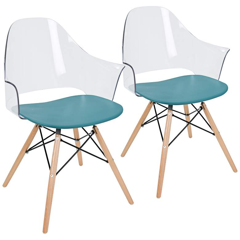 Tonic Flair Natural and Teal Blue Dining Chair Set of 2