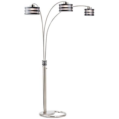Nova Kobe 3-Light Arc Lamp Charcoal and Brushed Nickel
