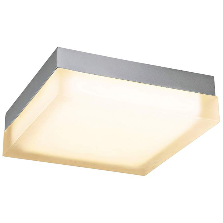 """dweLED Dice 12"""" Wide Brushed Nickel Square LED Ceiling Light"""