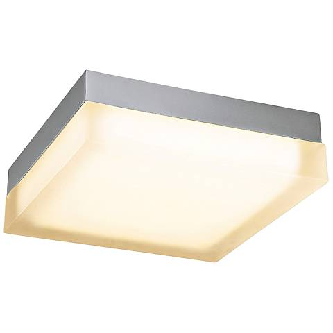 "dweLED Dice 12"" Wide Brushed Nickel Square LED Ceiling Light"
