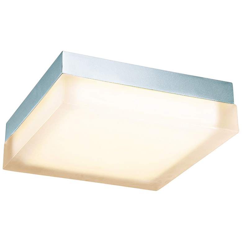 "dweLED Dice 12"" Wide Chrome Square LED Ceiling Light"