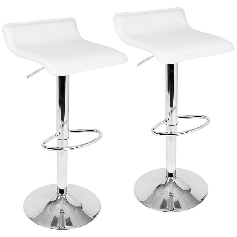 Strange Ale White Adjustable Swivel Bar Stools Set Of 2 Uwap Interior Chair Design Uwaporg